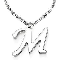 COOLSTEELANDBEYOND Nom Initial Lettre Alphabétique M Pendentif - Collier pour Femmes Homme - Acier - Couleur Argent - 50cm Corde Chaîne