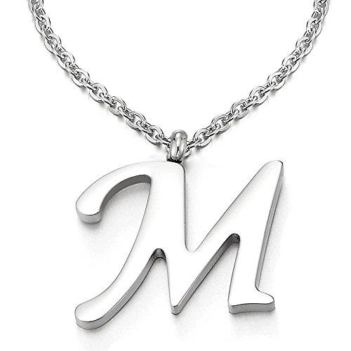 COOLSTEELANDBEYOND Name Initiale Alphabet Buchstaben M Anhänger Edelstah Halskette für Damen Herren Farbe Silber mit 50cm Stahl Seil-Kette