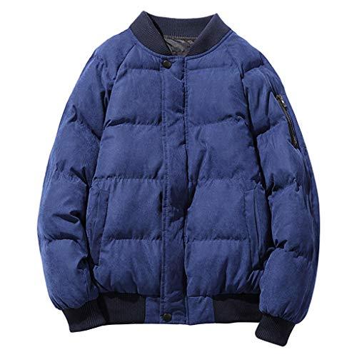 LIMITA Herren Daunenjacke Herren Winter Casual Pure Color Jacke Stehkragen Jacke Baseballuniform Baumwolljacke Steppjacke