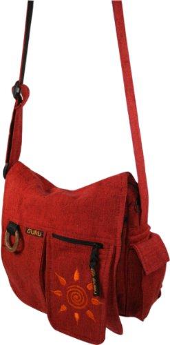 Guru-Shop Schultertasche, Hippie Tasche Sonne - Braun, Herren/Damen, Baumwolle, 25x25x7 cm, Alternative Umhängetasche, Handtasche aus Stoff Rot