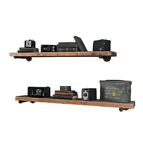 Sepia rack real wood bookcases wall mount bulkhead bracket iron pipe wall ,70*20*3cm flower racks