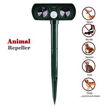 Répulsif à ultrasons,Drillpro Pest Repeller solaire/Ultrasonique pour animaux chat,chien,renard,Cerf,Rongeur repeller pour ferme