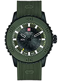 amazon co uk swiss military watches swiss military men s quartz watch grey dial analogue display and olive green silicone strap 6 4281 27 006