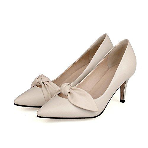 WSS chaussures à talon haut Bow cuir Fashion chaussures asakuchi haut talon stiletto chaussures femme beige