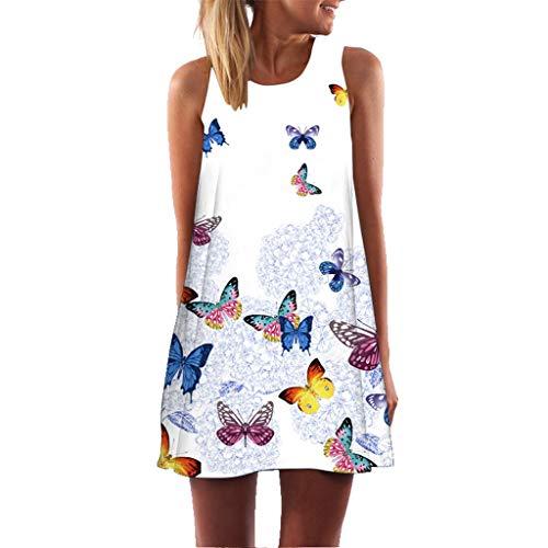 Suitray Kleid Damen Mini Mode Bunt Blumenmuster Schmetterlinge Ärmellos Minikleid Blusenkleid Sommerkleid Strandkleid Clubkleid Partykleid Cocktailkleid Strassenmode Tunika Kleider Freizeit Kleid