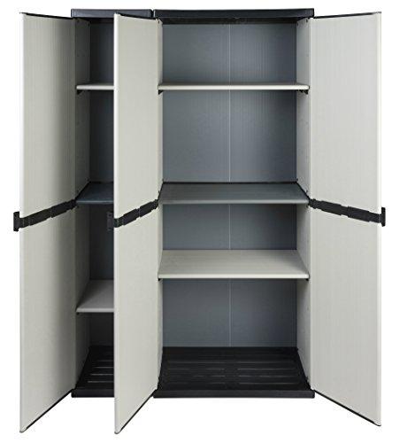 """Modularer Universal Kunststoffschrank """"2 in 1"""" mit drei Türen und höhenverstellbaren Böden. Robuste Ausführung, in Grau. Maße BxTxH : 102 x 39,5 x 168 cm."""