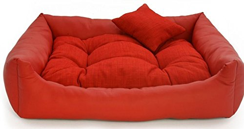 Gorgeous Quilted Reversible HQ Ultra soft Dual Sofa-Style Dog Bed (Red) Medium