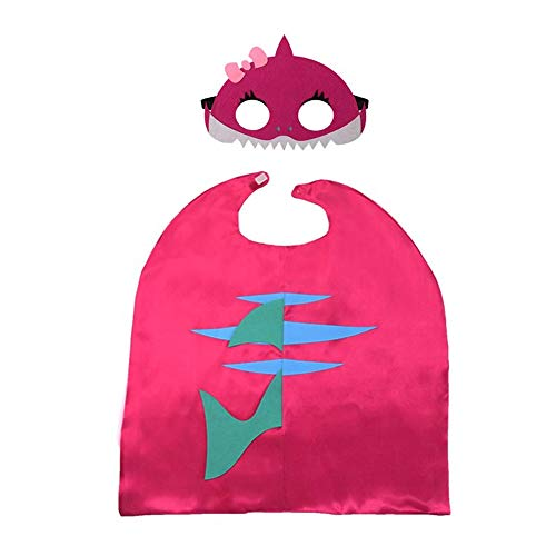 Niedlicher Cartoon Shark Cape Umhang mit Maske für Kleinkinder Kinder Kinder Halloween Themed Party Geburtstag Maskerade Rollenspiel Party Kostüm Rose - Niedliche Kostüm Mit Masken