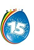 Folat 8Stk. Luftballons 30cm Zahlenballons 15 Jahre