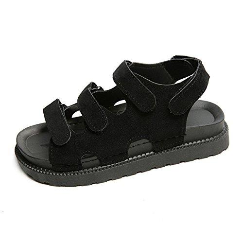 Schwarz Schnellverschluss Sommer Cool Weich Sandalen Damen Bequem Plateau Sportlich Nubukleder Schuhe Rutschhemmend gqPwOnaA