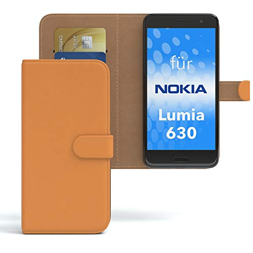 EAZY CASE Hülle für Nokia Lumia 630 Dual SIM Bookstyle mit Standfunktion, Book-Style Case aufklappbar, Schutzhülle, Flipcase, Flipstyle, Flipcover mit 2 Kartenfächern aus Kunstleder, Orange