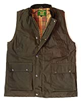 Countrywear New British Made Quilted Wax Gilet Branded Outdoor Bodywarmer Oiled Waistcoat Sleeveless Jacket Fishing Hunting Shooting Farming (Brown Medium)