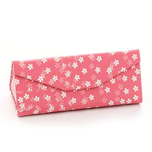 PU Leder Faltbare Eyegbrillen-Fall, Anti-Druck Portable Hard Triangle Pink Sonnenbrillen Box mit Magnetic Clasp for Woman