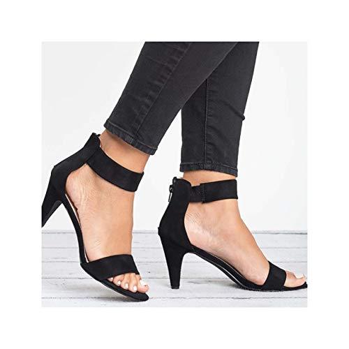 Women Sandals 2019 Summer Shoes Woman Peep Toe Mid Heels Sandals Sexy Summer Sandalias Mujer Zipper Plus Size Heels Women Black 9 Patent Sling Strap Peep Toe