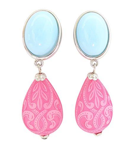 Hellblau-pinke, sehr leichte große Clip-Ohrstecker Ohrringe silber-farben Stein hell-blau Anhänger pink tropfen-förmig Ornamente Designer JUSTWIN