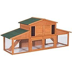 Pawhut Clapier Cage à Lapins rongeurs poulailler XXL 2 étages 2 enclos tiroir déjection 2,27L x 0,70l x 1H m Bois Massif pin