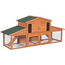 Pawhut Clapier Cage à Lapins rongeurs poulailler XXL 2 étages 2 enclos  tiroir déjection 2, f00ac92ea66c
