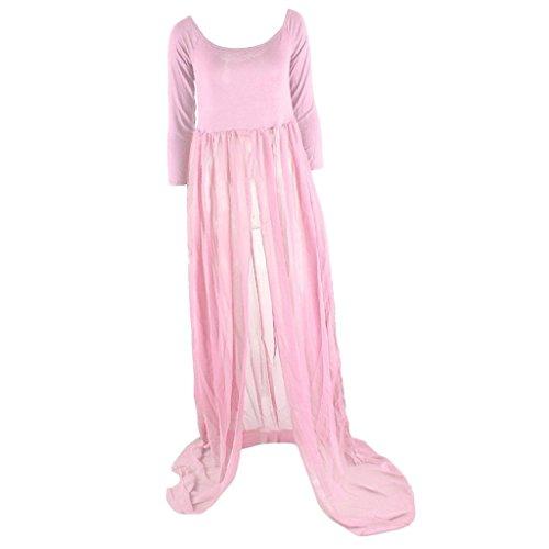MagiDeal Sexy Schwanger fotoshooting Lange Frauenkleider Mutterschaft Fotografie Kleidung Requisiten Rosa