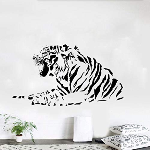 Wandtattoo Schlafzimmer Party Black White Tiger Art Decoration Decals Mural Painting Decor for living room bedroom (Wandtattoo White Tiger)