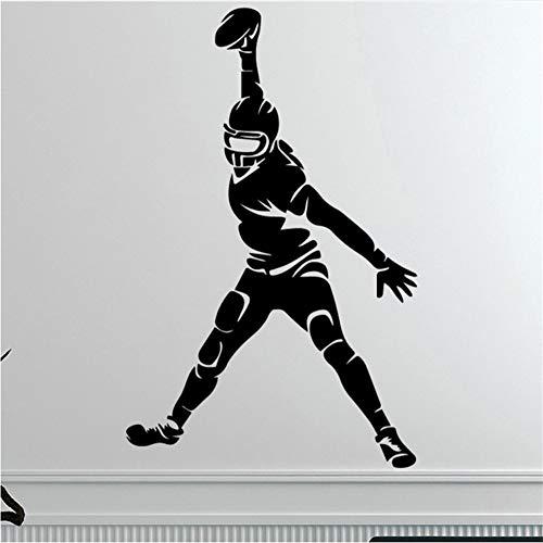 Shuyinju Kreative Rugby Piayer Wandaufkleber Für Wohnkultur Wohnzimmer Jungen Zubehör Abziehbilder Wasserdicht Vinyl Kunst Aufkleber 58 * 91 Cm