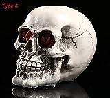 YHONG-Decoration Human Skull Skeleton Model Replica Resin Medizinische Anatomische Tracing Medizinische Lehre Skelett Halloween Dekoration Statue LED