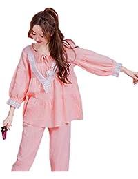 e3e748b5f Mujer Ropa De Noche Primavera Otoño Cómodo Conjunto De Pijama Anchos Manga  Larga Cuello Redondo con