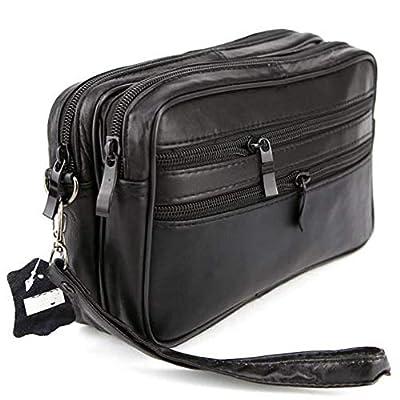 LIVAN® - Pochette vide poche - Sacoche Porté main homme - à glissière - cuir véritable - neuf