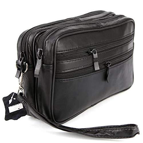 1e249bf42e LIVAN® - Pochette vide poche - Sacoche Porté main homme - à glissière -  cuir véritable - neuf