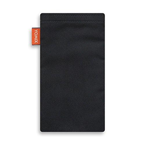 YOMIX Handytasche | Tasche | Hülle MALIN für Apple iPhone X aus Jeansstoff mit genialer Display-Reinigungsfunktion durch Microfaserinnenfutter VIIVI schwarz