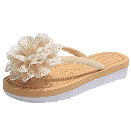 Sentao Femmes Plage Tongs Flip Flop Avec Fleurs Vacances Sandales Bohême Chaussures D'été Beige Pantoufles