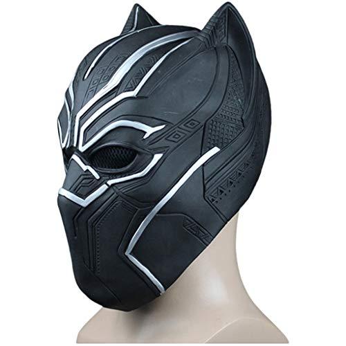 Black Panther Masks Film Fantastic Four Cosplay Herren Latex Party Vollmaske für Halloween Latex Cosplay Ganzkopfhelm Maske Karneval Panther,A,Within58CM~64CM (Black Mask Cosplay Batman)