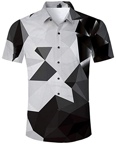 f05f76aa ALISISTER Funky Mens Hawaiian Shirt Geometry Printed Short Sleeve Tshirts Tropical  Hawaii Luau Shirt Black and
