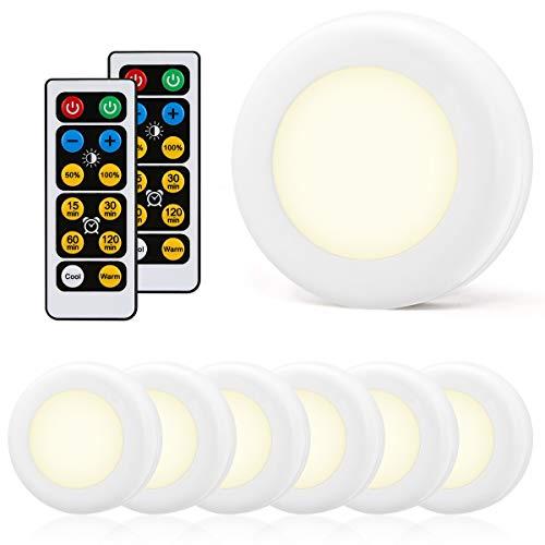 LOHAS Wireless LED Nachtlicht, Fernbedienung, Battery Operated, Dimmbar zwischen Kaltweiß (6500K) und Warmweiß (2700K), Touch Lampe, für Schrank und Küche, 0.6W, 150LM, Selbstklebend Band, 6er Pack