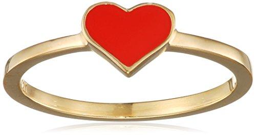 caï Damen-Ring mit Herz Motiv 925 Silber gelb vergoldet und rot lackiert Gr. 50 (15.9)