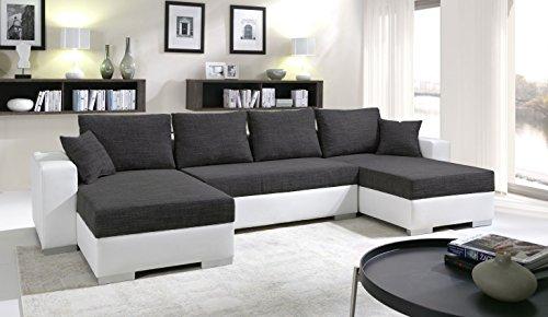 Canapé d'angle en U Convertible Enno Tissu Noir et Simili Cuir Blanc. Coffre de Rangement