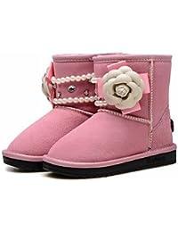 Wuyulunbi@ Las Niñas Zapatos Cómodos Zapatos De Flor De Invierno La Nieve Botas Botas Botas De Media Pierna Abalorios De Strass Flores Espumosos,Rosa,Us10.5 / Ue27 / Uk9.5 Chiquillos