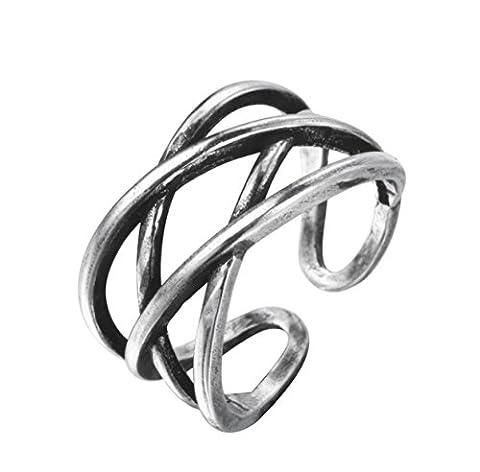 iszie Schmuck Sterling Silber Kreuz Keltischer Knoten Everlasting Love Schicht verstellbar Retro Vintage Design offener (Eterna Nodo)