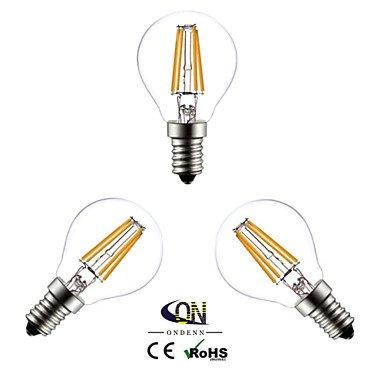 LWDEND 3 piezas ONDENN E14 4 COB 400 LM Blanco Cálido G45 edison Cosecha Bombillas de Filamento LED AC 100-240 V