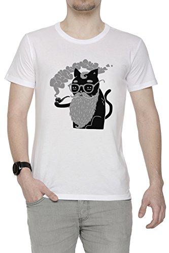 Erido Schnurrhaare und Rohr Herren T-Shirt Rundhals Weiß Kurzarm Größe L Men's White Large Size L