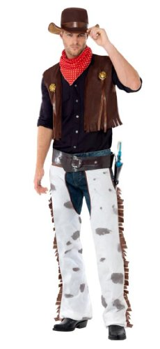 Smiffys, Herren Cowboy Kostüm, Chaps, Weste, Hut und Halstuch, Größe: L, (Cowboy & Weste Schwarze Kostüme Chaps)