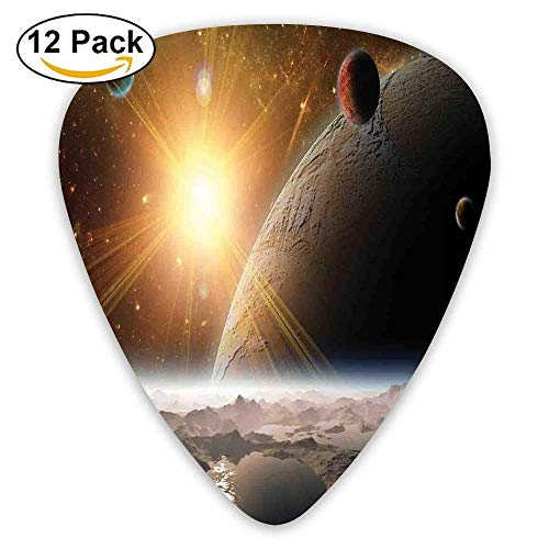 Moons And The Universe View From The Earths Surface Galaxy Theme Art Print Guitar Picks 12/Pack