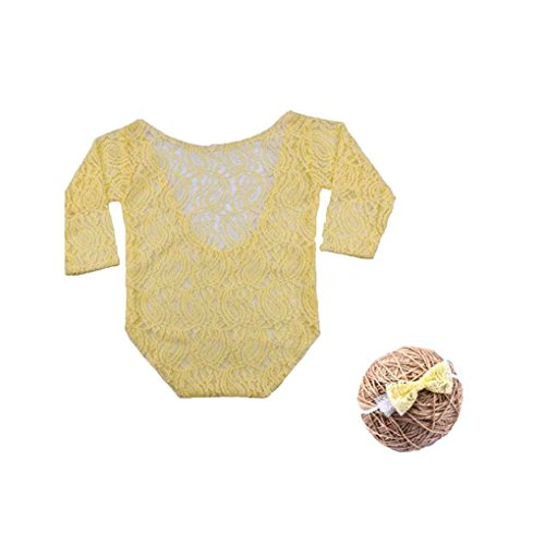 Florallive Baby-Langarm-Body Neugeborenes Fotografie Props Prinzessin Lace Kostüm mit Stirnband-Bogen-Knoten Infant Outfits