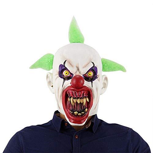 TYUBN Horror Clown Maske Buck Zähne Vollgesichts Horror Maskerade Erwachsene Geisterparty Latex Maske Halloween Requisiten Kostüme Kostüm