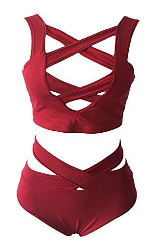 Spring Fever–sexy Criss Cross Hollow Out BANDAGE Swimwear push-up fascia bikini 2pezzi tuta B Red
