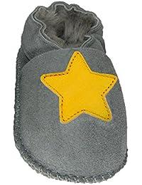 Plateau Tibet - ECHT LAMMFELL Baby Kinder Schuhe Babyschuhe Krabbelschuhe Jungen Mädchen Lammfellschuhe - Stern gelb
