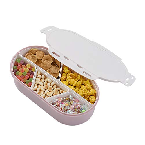 Walmeck- Obst Nuts Platte mit Deckel Seal Abnehmbare Multi Sectional Sub Grid Kunststoffschale Candy Snack Dish Bowl Dessert Servierplatte Sectional Candy