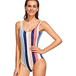 SOLYHUX Mujer Ropa de Baño Vestido de Playa Alta Cintura, Rayas de Colores, Sin Espalda -2018 Ropa De Playa, Tamaño S