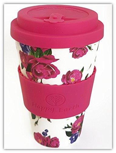 ROSES von Happy Earth (Wiederverwendbare Öko-Kaffeetasse 450ml, mit Bio-Bambus Naturfaser, kann als Reisebecher oder Kaffee-Tasse zu Hause verwendet werden) -