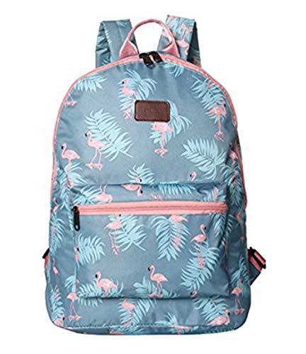 n Flamingos Rucksack Schüler Schulranzen Mode tragbar Schultertasche Outdoor Reise Handtasche (Blau) ()