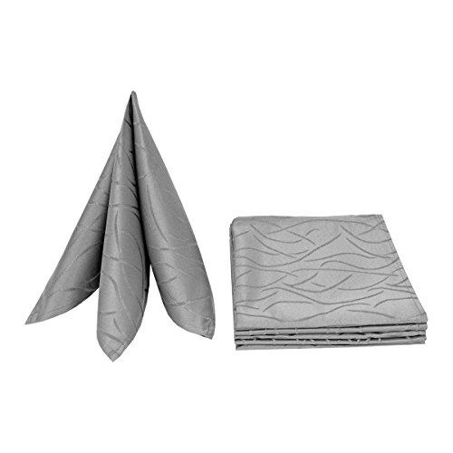 MODERNO Servietten Damast Stoffservietten Streifen Design 50x50 Grau (6er Pack)